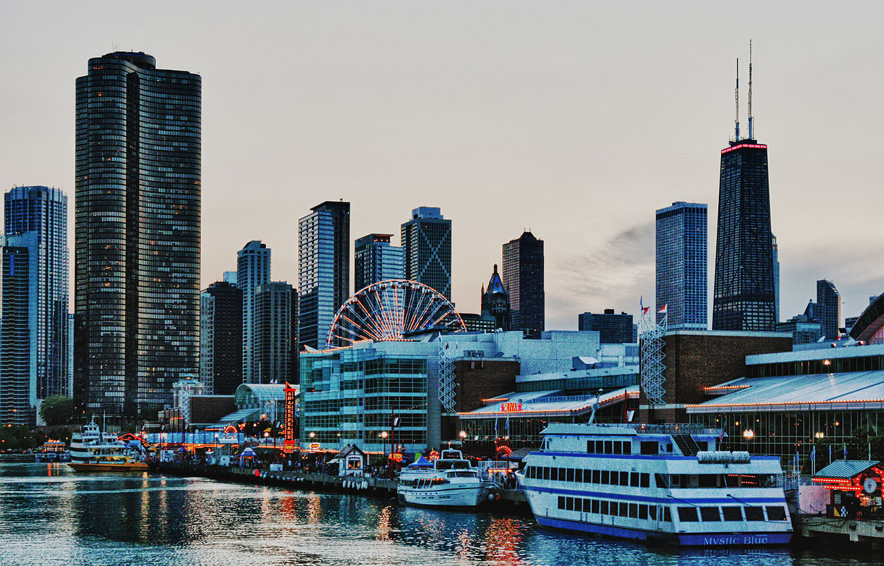 Chicago Evening Skyline (Navy Pier)
